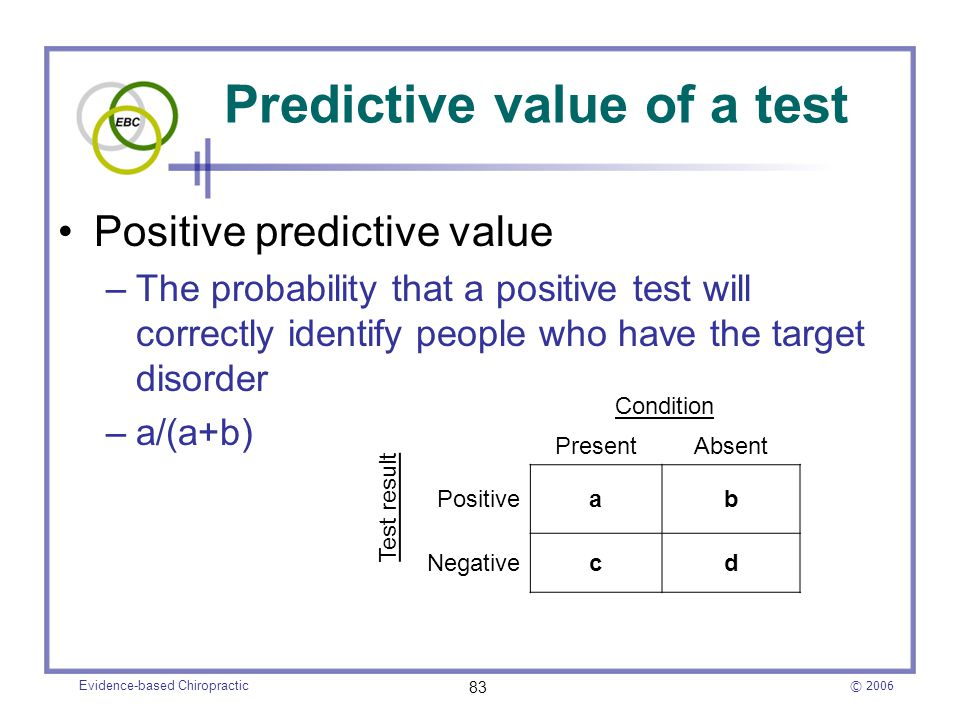 © 2006 Evidence-based Chiropractic 83 Predictive value of a test Positive predictive value –The probability that a positive test will correctly identi