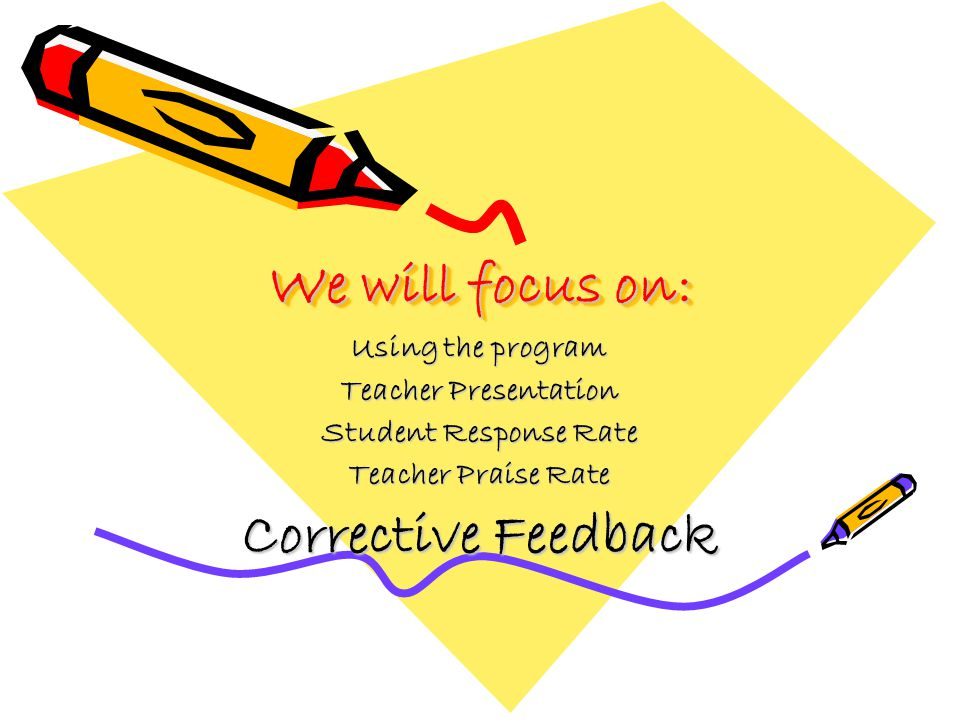 We will focus on: Using the program Teacher Presentation Student Response Rate Teacher Praise Rate Corrective Feedback