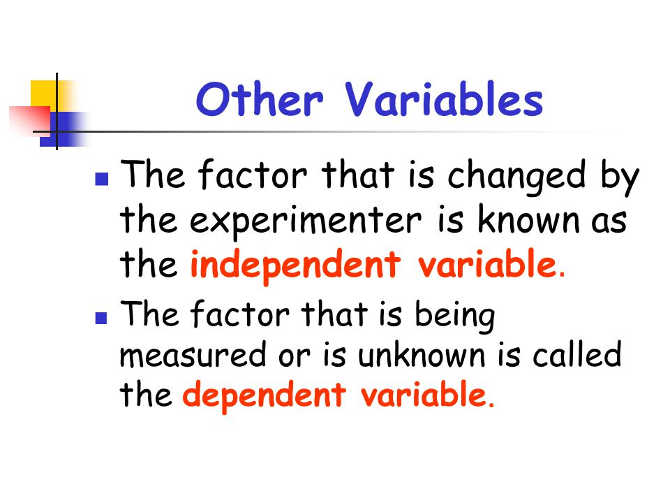 Other Variables The factor that is changed by the experimenter is known as the independent variable. The factor that is being measured or is unknown i