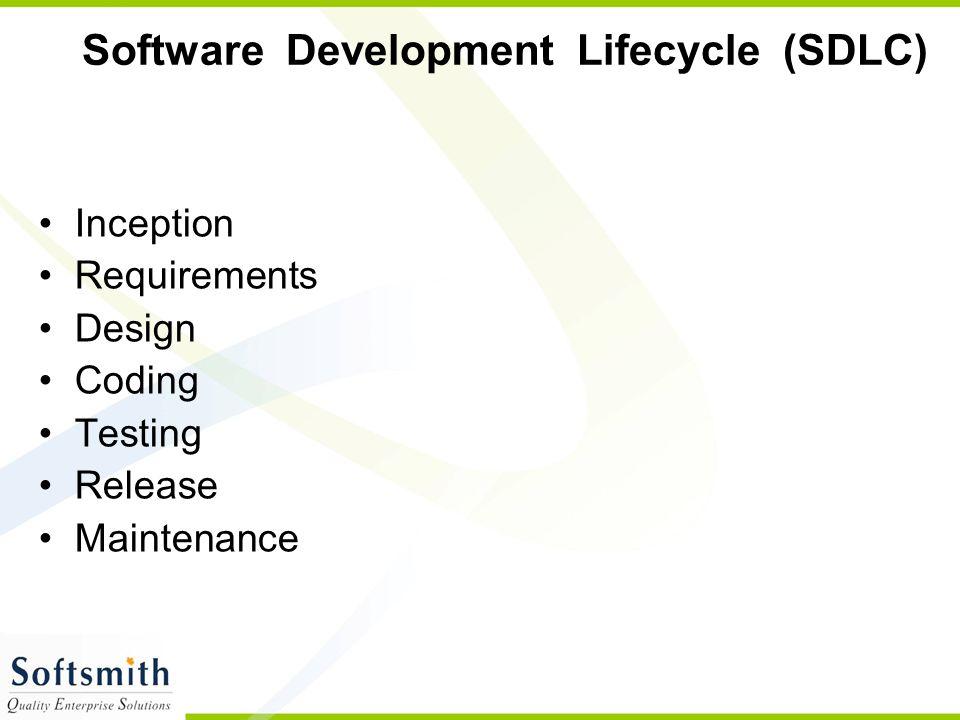 Software Development Lifecycle (SDLC) Inception Requirements Design Coding Testing Release Maintenance