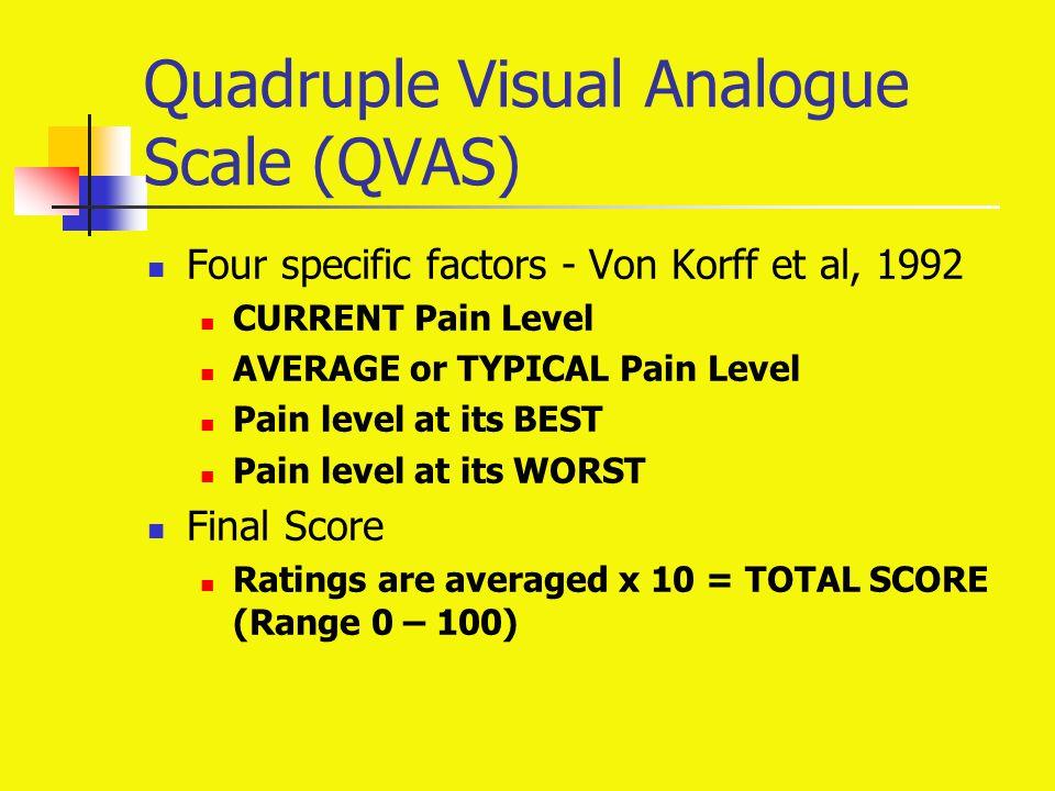 Quadruple Visual Analogue Scale (QVAS) Four specific factors - Von Korff et al, 1992 CURRENT Pain Level AVERAGE or TYPICAL Pain Level Pain level at its BEST Pain level at its WORST Final Score Ratings are averaged x 10 = TOTAL SCORE (Range 0 – 100)