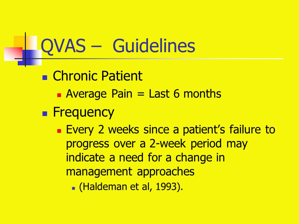 QVAS – Guidelines Chronic Patient Average Pain = Last 6 months Frequency Every 2 weeks since a patient's failure to progress over a 2-week period may