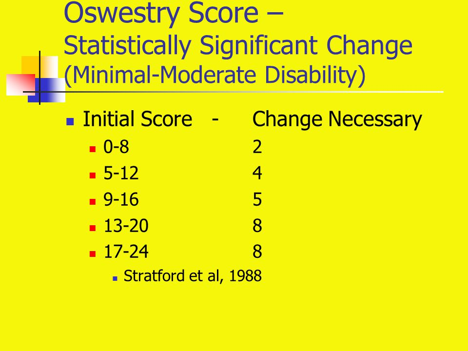 Oswestry Score – Statistically Significant Change (Minimal-Moderate Disability) Initial Score -Change Necessary 0-82 5-124 9-16 5 13-20 8 17-24 8 Stra