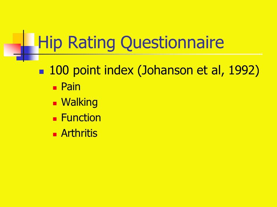 Hip Rating Questionnaire 100 point index (Johanson et al, 1992) Pain Walking Function Arthritis