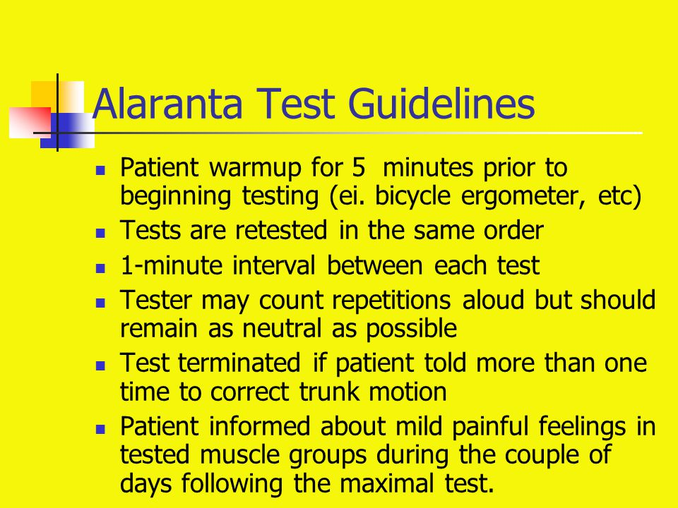 Alaranta Test Guidelines Patient warmup for 5 minutes prior to beginning testing (ei. bicycle ergometer, etc) Tests are retested in the same order 1-m