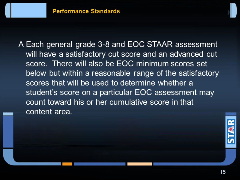 Standard Setting Process  The Student Success Initiative (SSI) promotion requirements will not include use of the STAAR results in the 2011–2012 school year only, since passing standards will not yet be established.