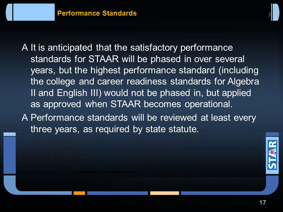 Performance Standards  Performance at the highest cut score will be interpreted differently depending on the assessment.