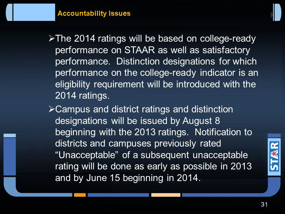 Accountability Issues  Phase-in of the new accountability system will begin with the 2013 and 2014 accountability ratings.