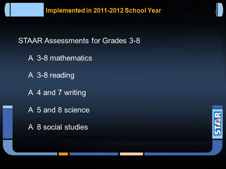 State of Texas Assessments of Academic Readiness (STAAR)  Will begin in the 2011–2012 school year.