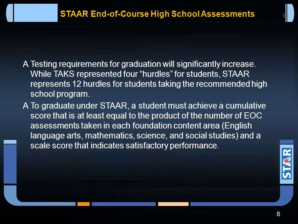  STAAR grades 3-8 assessments will be administered on paper only; STAAR EOC assessments will be offered in both online and paper formats.