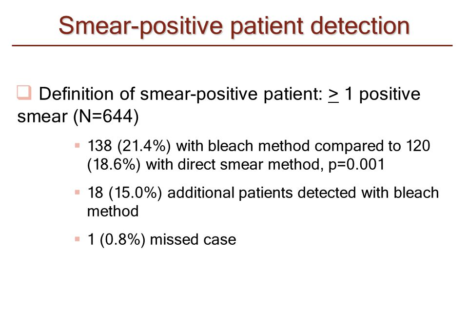  Definition of smear-positive patient: > 1 positive smear (N=644)  138 (21.4%) with bleach method compared to 120 (18.6%) with direct smear method,