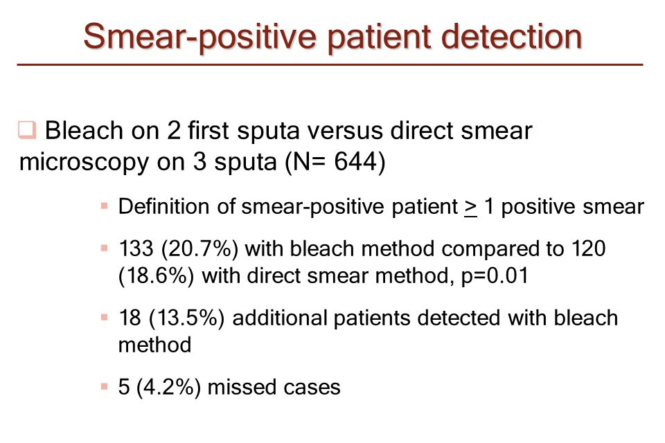  Bleach on 2 first sputa versus direct smear microscopy on 3 sputa (N= 644)  Definition of smear-positive patient > 1 positive smear  133 (20.7%) w