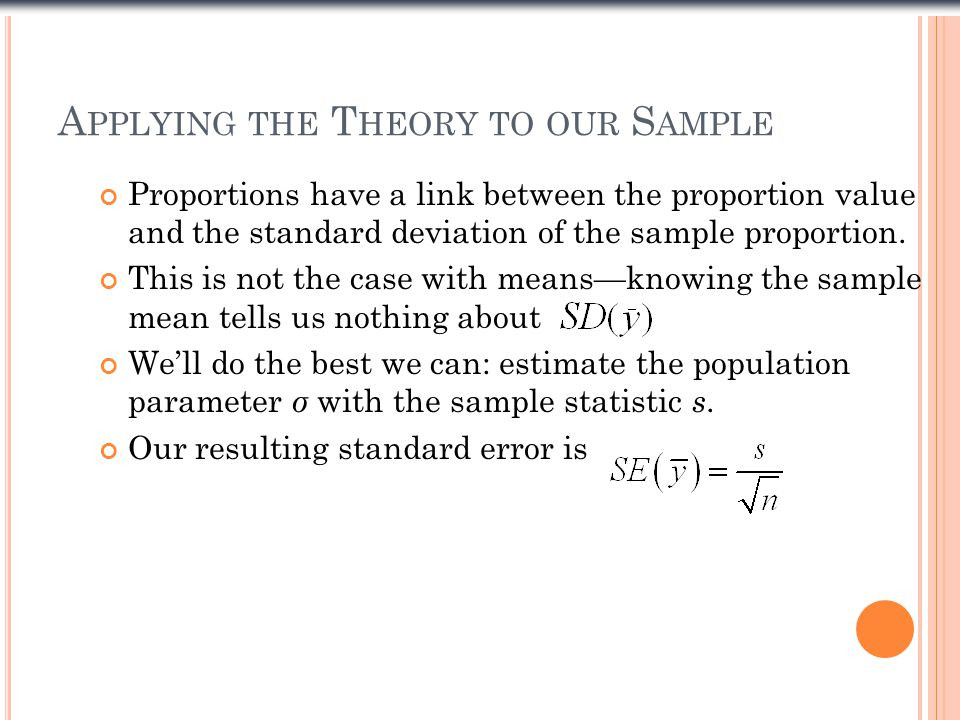 Proportions have a link between the proportion value and the standard deviation of the sample proportion.