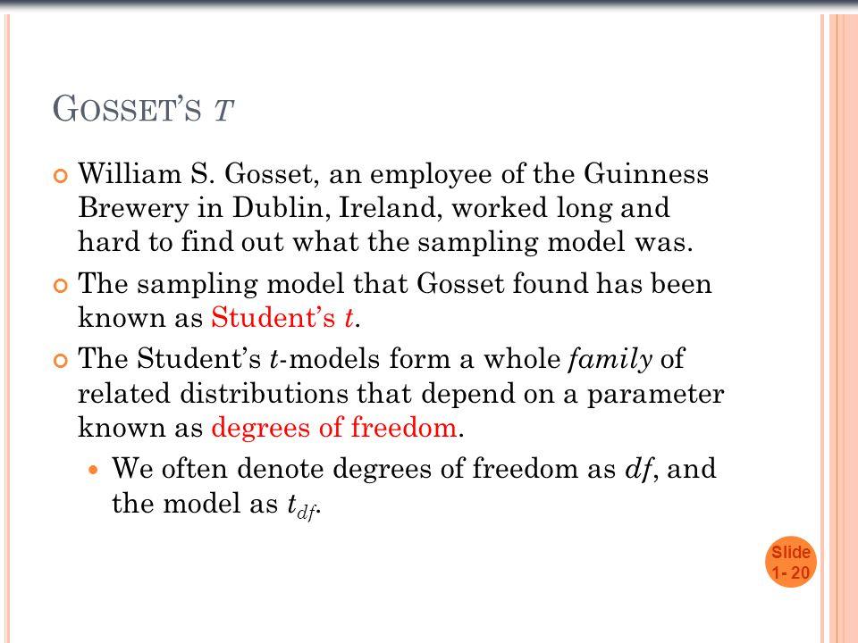 G OSSET ' S T William S.