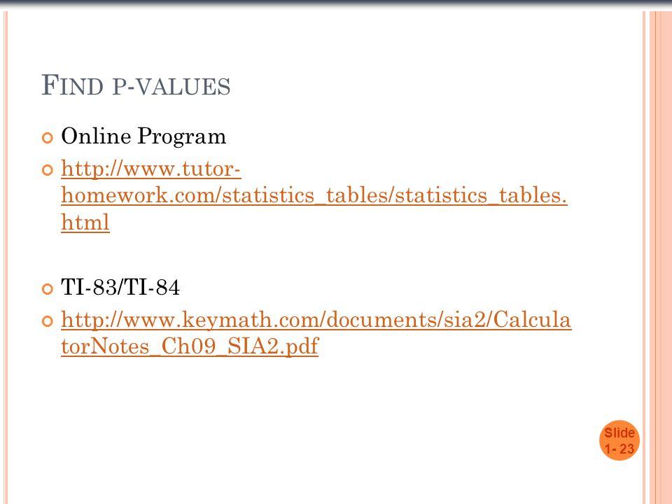 F IND P - VALUES Online Program http://www.tutor- homework.com/statistics_tables/statistics_tables. html TI-83/TI-84 http://www.keymath.com/documents/