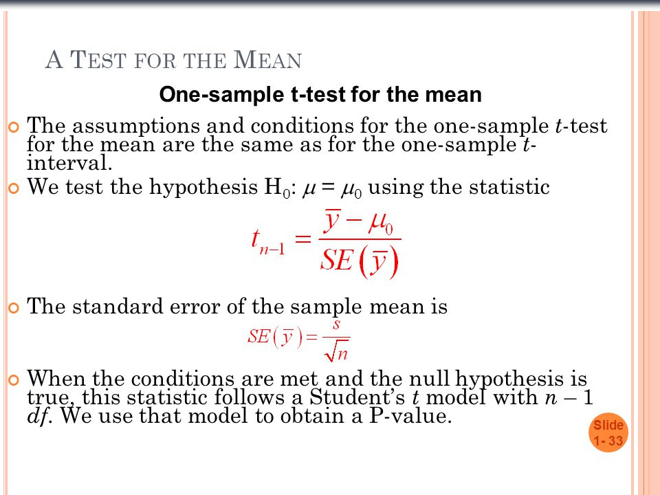 A T EST FOR THE M EAN Slide 1- 33 The assumptions and conditions for the one-sample t -test for the mean are the same as for the one-sample t - interval.