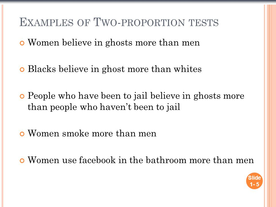 E XAMPLES OF T WO - PROPORTION TESTS Women believe in ghosts more than men Blacks believe in ghost more than whites People who have been to jail believe in ghosts more than people who haven't been to jail Women smoke more than men Women use facebook in the bathroom more than men Slide 1- 5