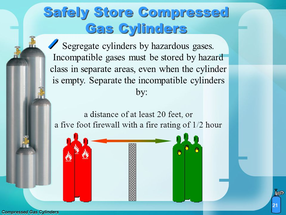 Compressed Gas Cylinders 20 Well ventilated Free of flame, sparks, or electrical circuit Level, fireproof, and dry Below 125 degrees Fahrenheit Out of