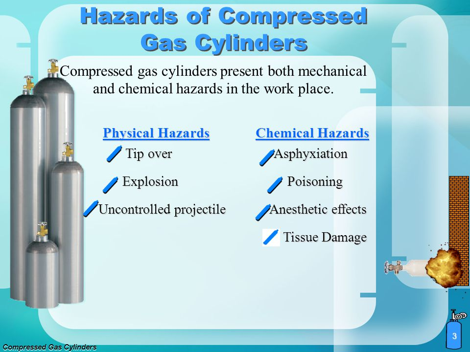 Compressed Gas Cylinders 3 Compressed gas cylinders present both mechanical and chemical hazards in the work place.