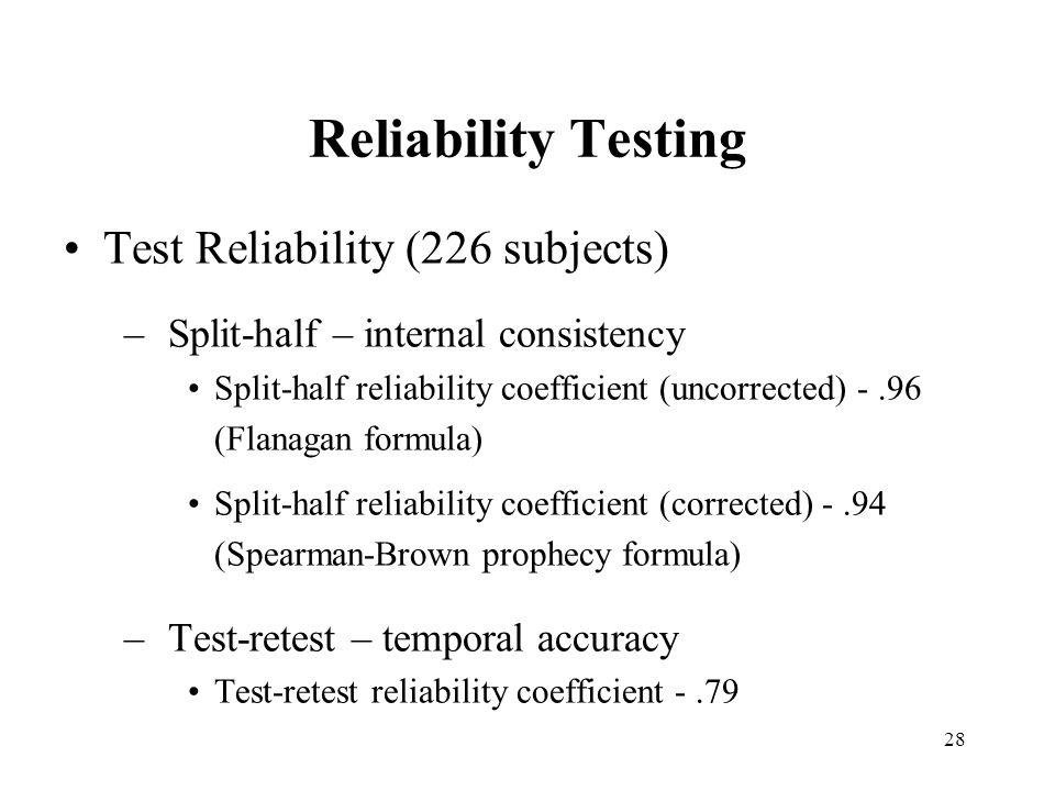 28 Reliability Testing Test Reliability (226 subjects) –Split-half – internal consistency Split-half reliability coefficient (uncorrected) -.96 (Flana