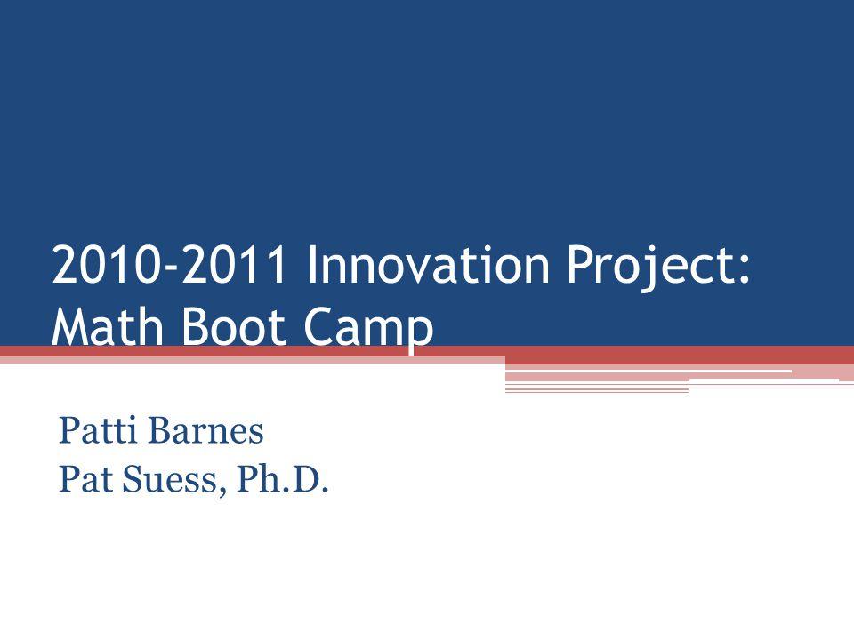 2010-2011 Innovation Project: Math Boot Camp Patti Barnes Pat Suess, Ph.D.