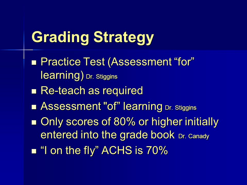 "Grading Strategy Practice Test (Assessment ""for"" learning) Dr. Stiggins Practice Test (Assessment ""for"" learning) Dr. Stiggins Re-teach as required Re"