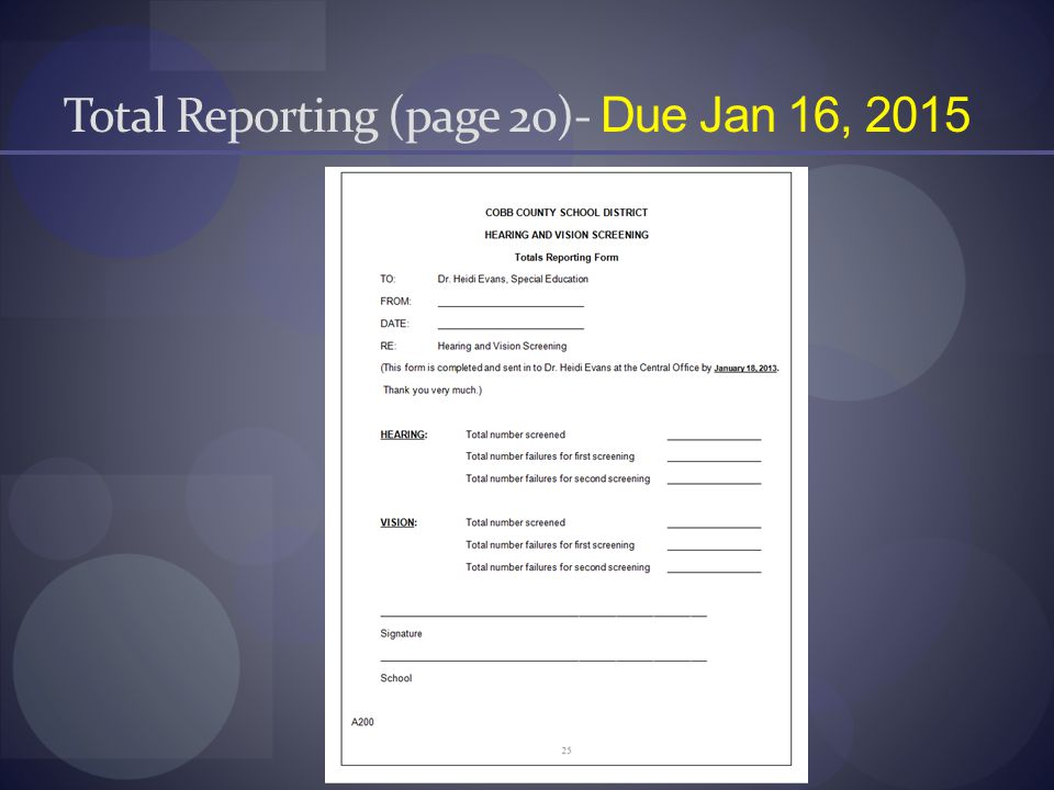 Total Reporting (page 20)- Due Jan 16, 2015