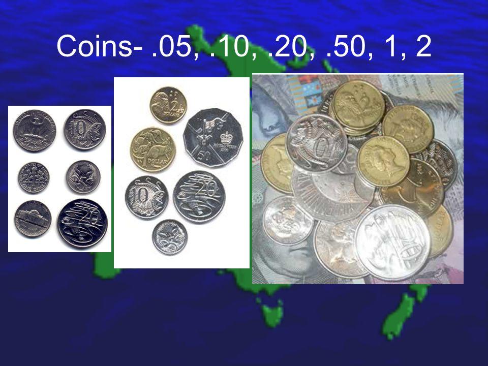 Coins-.05,.10,.20,.50, 1, 2