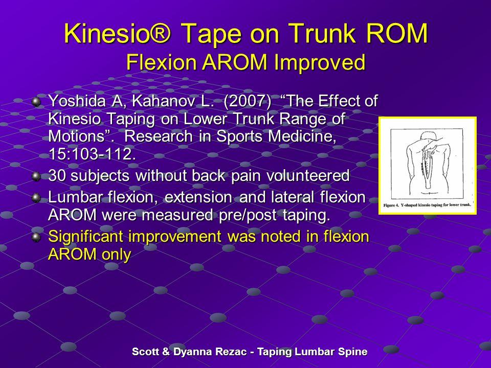 "Scott & Dyanna Rezac - Taping Lumbar Spine Kinesio® Tape on Trunk ROM Flexion AROM Improved Yoshida A, Kahanov L. (2007) ""The Effect of Kinesio Taping"