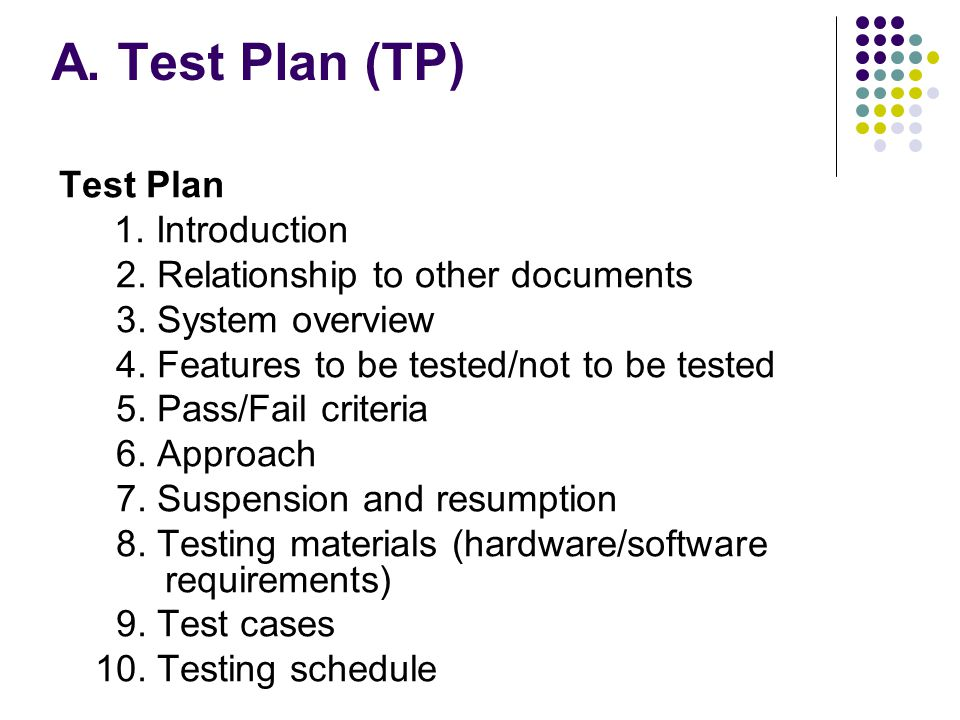 A. Test Plan (TP) Test Plan 1. Introduction 2. Relationship to other documents 3.