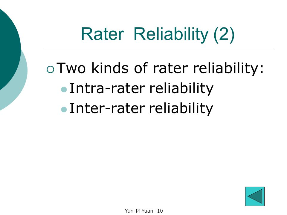 Yun-Pi Yuan 10 Rater Reliability (2)  Two kinds of rater reliability: Intra-rater reliability Inter-rater reliability