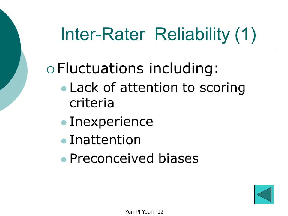 Yun-Pi Yuan 12 Inter-Rater Reliability (1)  Fluctuations including: Lack of attention to scoring criteria Inexperience Inattention Preconceived biases