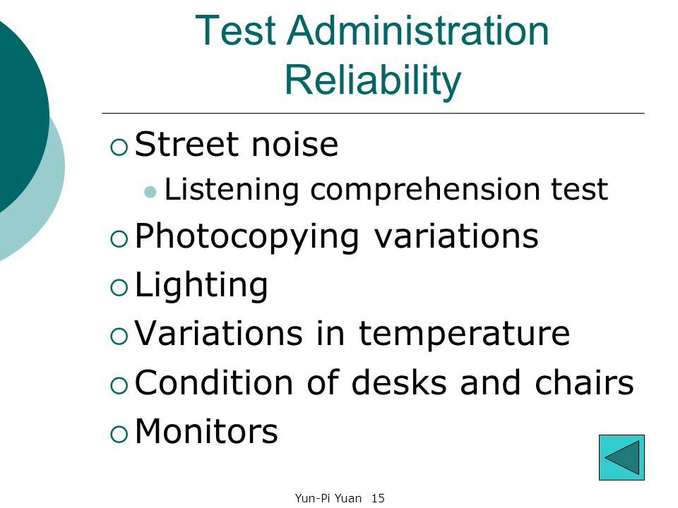 Yun-Pi Yuan 15 Test Administration Reliability  Street noise Listening comprehension test  Photocopying variations  Lighting  Variations in temperature  Condition of desks and chairs  Monitors