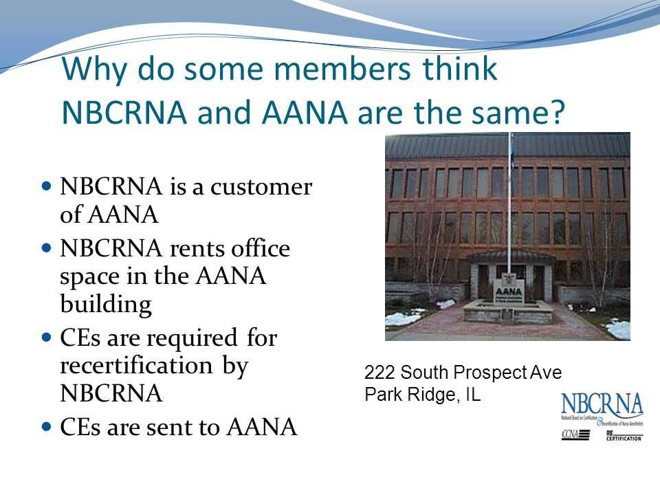 Why do some members think NBCRNA and AANA are the same.