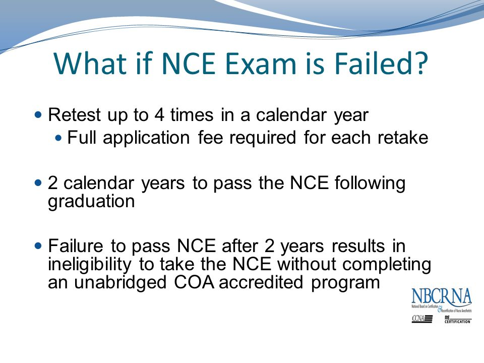 What if NCE Exam is Failed.