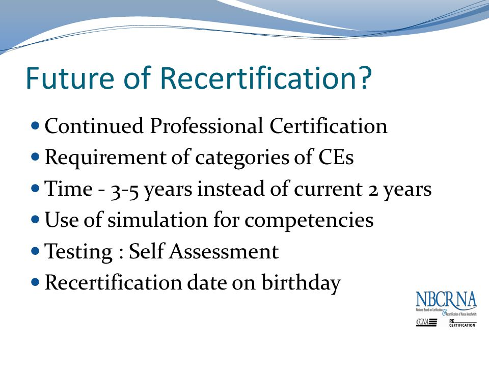 Future of Recertification.