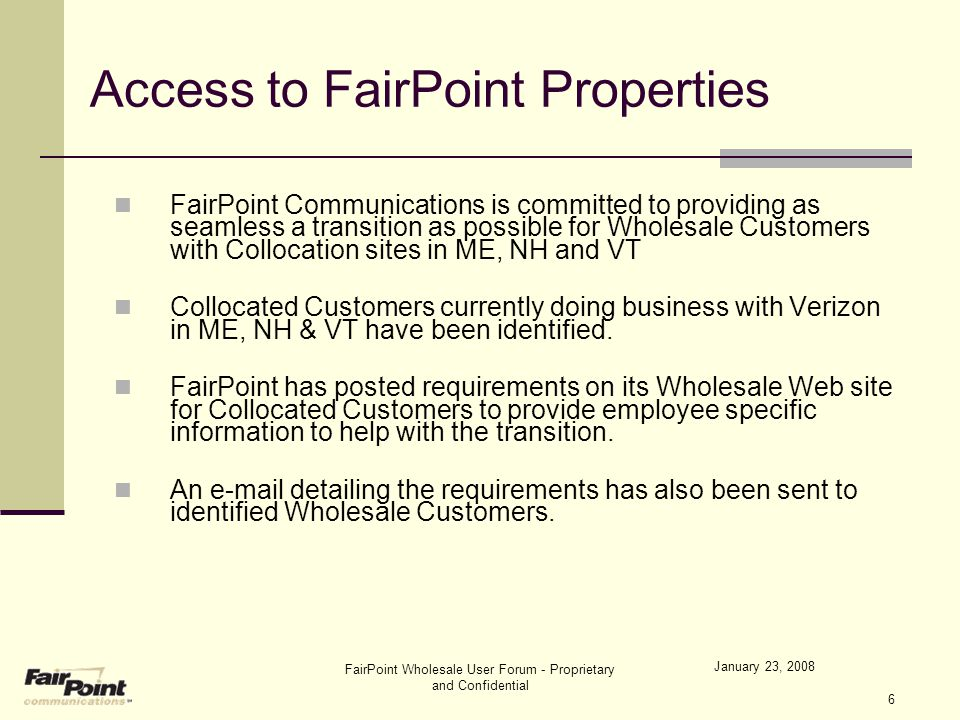 January 23, 2008 FairPoint Wholesale User Forum - Proprietary and Confidential 37 Defect Management Process Defects captured, fixed, retested, and closed by Wholesale Customer.