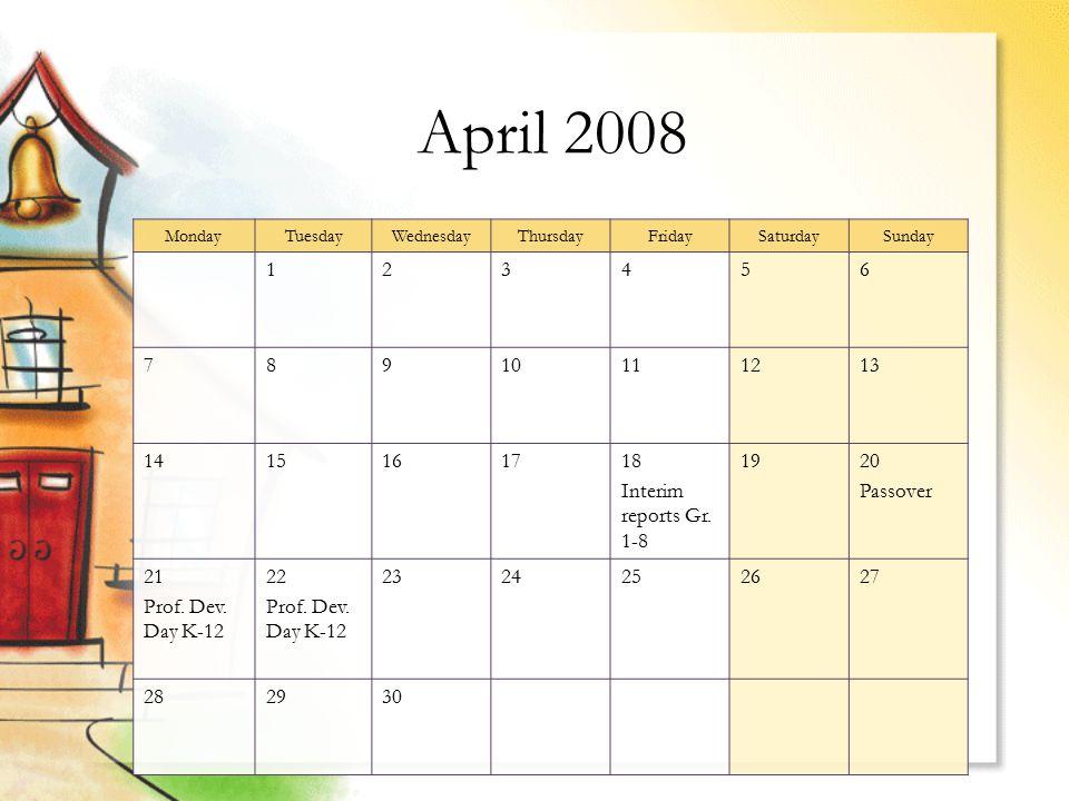 April 2008 MondayTuesdayWednesdayThursdayFridaySaturdaySunday 123456 78910111213 1415161718 Interim reports Gr.