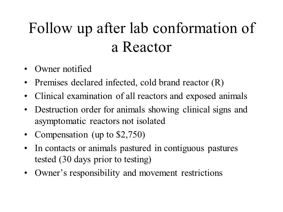 Follow up after lab conformation of a Reactor Owner notified Premises declared infected, cold brand reactor (R) Clinical examination of all reactors and exposed animals Destruction order for animals showing clinical signs and asymptomatic reactors not isolated Compensation (up to $2,750) In contacts or animals pastured in contiguous pastures tested (30 days prior to testing) Owner's responsibility and movement restrictions