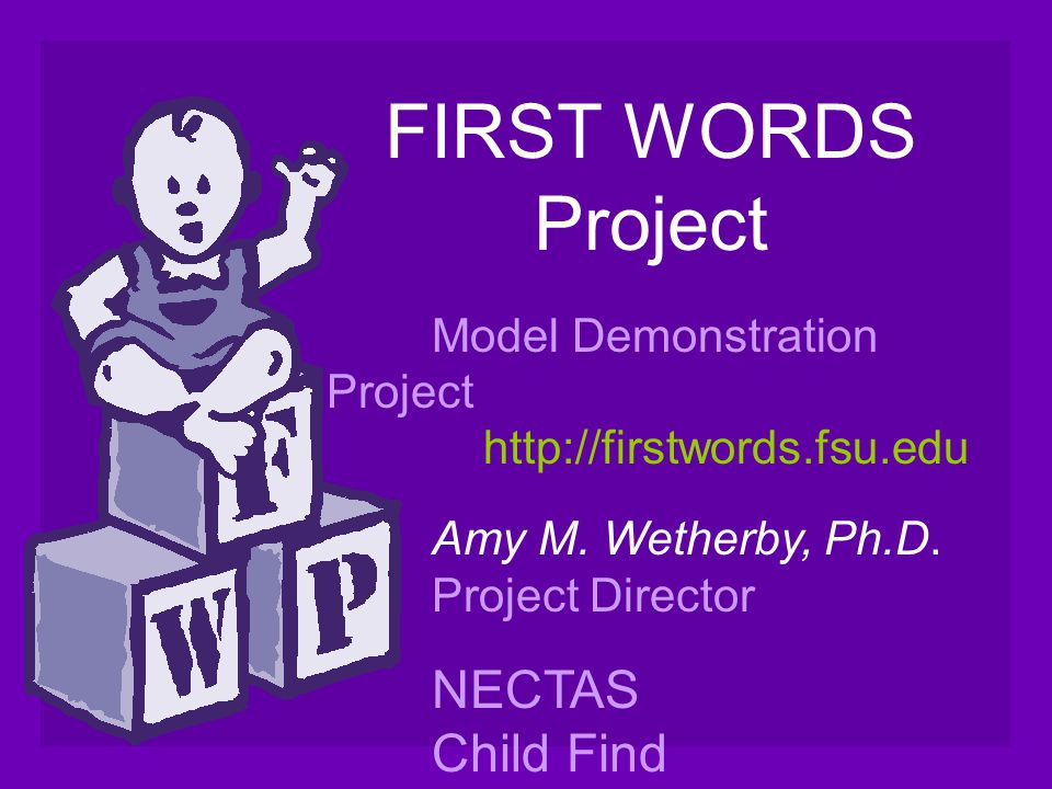 FIRST WORDS Project Model Demonstration Project http://firstwords.fsu.edu Amy M. Wetherby, Ph.D. Project Director NECTAS Child Find Teleconference