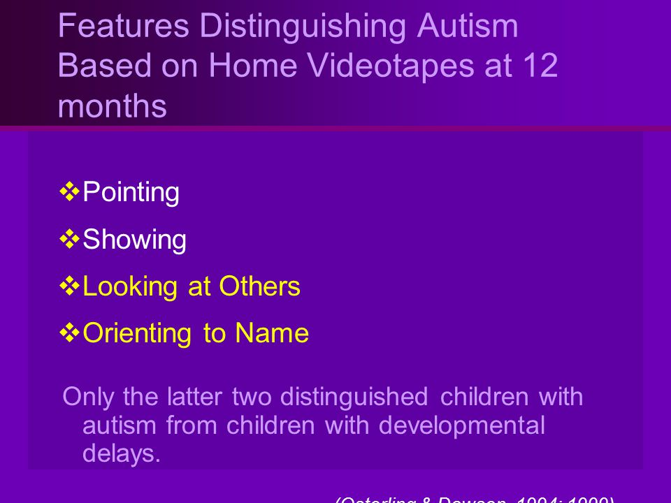 Features Distinguishing Autism Based on Home Videotapes at 12 months  Pointing  Showing  Looking at Others  Orienting to Name Only the latter two