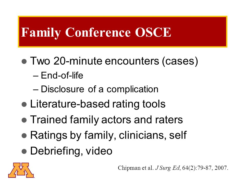 Family Conference OSCE Two 20-minute encounters (cases) –End-of-life –Disclosure of a complication Literature-based rating tools Trained family actors and raters Ratings by family, clinicians, self Debriefing, video Chipman et al.
