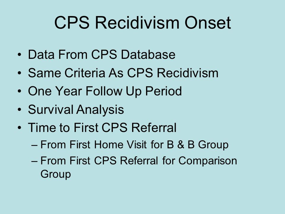 CPS Recidivism Onset Data From CPS Database Same Criteria As CPS Recidivism One Year Follow Up Period Survival Analysis Time to First CPS Referral –From First Home Visit for B & B Group –From First CPS Referral for Comparison Group