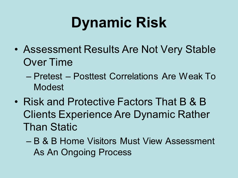 Dynamic Risk Assessment Results Are Not Very Stable Over Time –Pretest – Posttest Correlations Are Weak To Modest Risk and Protective Factors That B & B Clients Experience Are Dynamic Rather Than Static –B & B Home Visitors Must View Assessment As An Ongoing Process