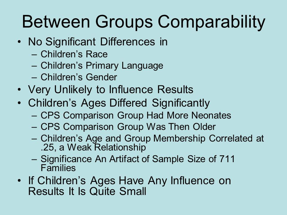 Between Groups Comparability
