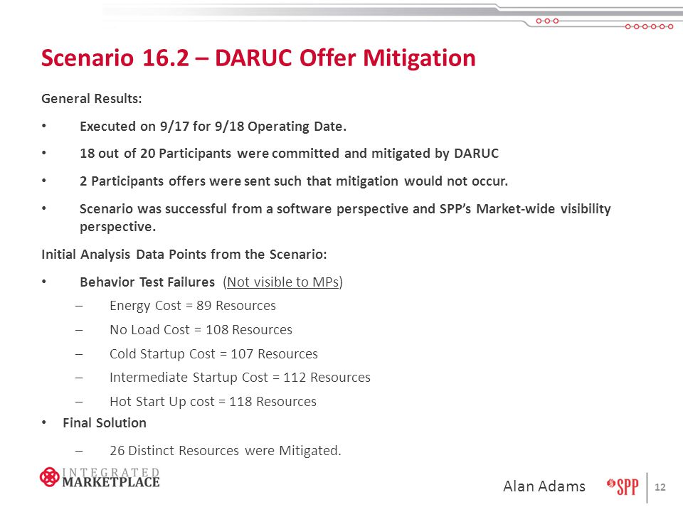 Scenario 16.2 – DARUC Offer Mitigation General Results: Executed on 9/17 for 9/18 Operating Date.
