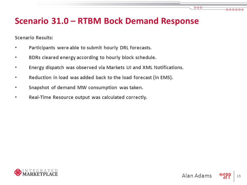 Scenario 31.0 – RTBM Bock Demand Response Scenario Results: Participants were able to submit hourly DRL forecasts.