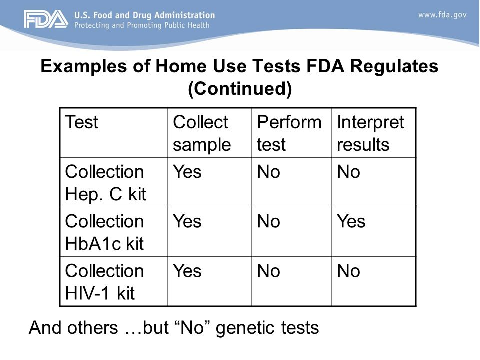 Examples of Home Use Tests FDA Regulates (Continued) TestCollect sample Perform test Interpret results Collection Hep.