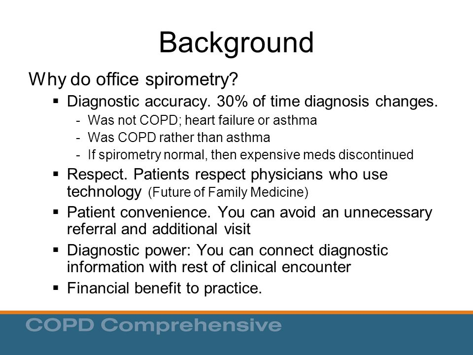 Background Why do office spirometry.  Diagnostic accuracy.