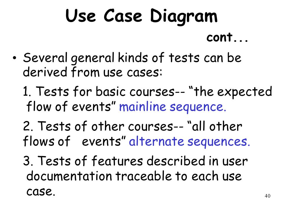 """40 Use Case Diagram cont... Several general kinds of tests can be derived from use cases: 1. Tests for basic courses-- """"the expected flow of events"""" m"""